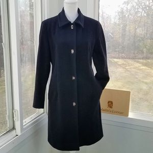 Anne Klein Cashmere/ Lamb Wool Black Coat